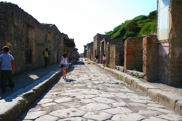 A view down the main street of Via Abondanza in Pompeii