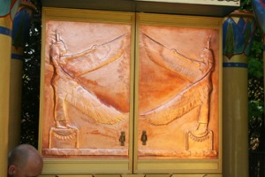 These doors are copper repoussé by the artist Lee Graham, also known as Dancing Raya.
