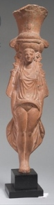 "A Romano-Egyptian vessel in the form of Isis-Aphrodite, saying ""hello."""