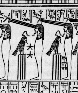 """An image from one of the shrines of Tutankhamon; these Otherworld beings are joined to their stars and """"receive the rays of Re"""""""