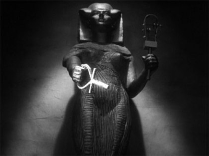 """The awesome scene from """"The Mummy"""" when the statue of Isis raises the ankh to save Her reincarnated priestess from a lovestruck but murderous mummy"""