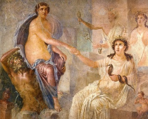 "This painting is from the Temple of Isis in Pompeii and shows the Goddess receiving the ""bull-maiden,"" Io at Canopus"