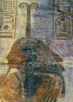 Strangely, here pharaoh Seti I wears Meskhenet's distinctive headress
