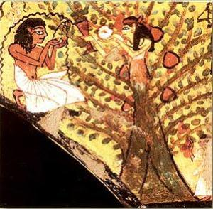 The Egyptian Tree Goddess giving food and water to the deceased