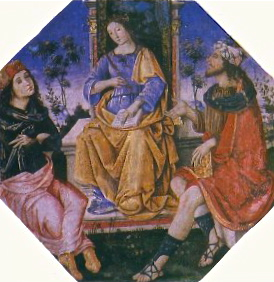 Isis the Wise, teaching Hermes and Moses, a painting by the Renaissance painter Pinturicchio from the Borgia family apartments