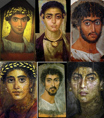 Mummy portraits from Egypt's Fayoum, an area where Greeks and Egyptians mixed freely and intermarried