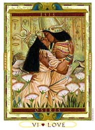 Isis & Osiris as lovers from Kris Waldherr's Lovers Path Tarot