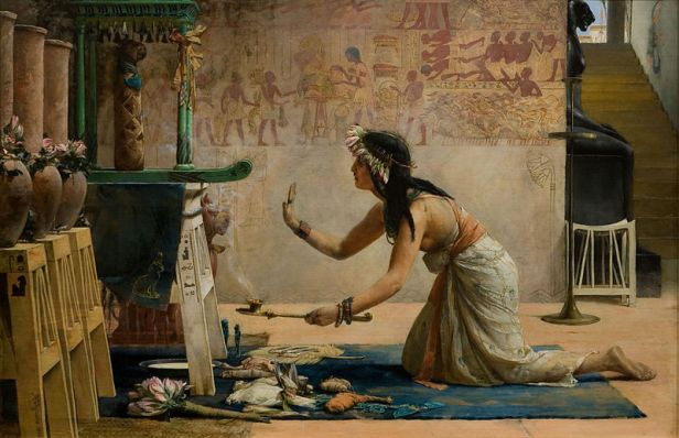 A lovely 19th century painting of a priestess serving the ka of a cat by John Weguelin