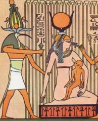 Thoth supporting Isis in the papyrus marsh