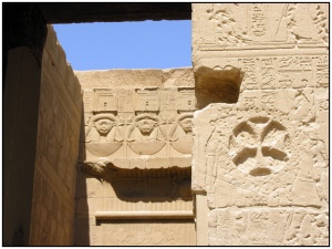 Christian symbols carved on the walls of the Philae temple