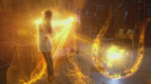 A pretty cool image from the TV show Smallville, when Isis possesses Lois. But to me it looks like the Goddess shining Her light on Her priestess in the otherworld.