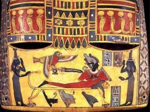 Osiris rising between Isis and Nephthys