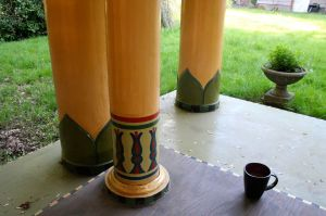 There are eight large, outer pillars and two smaller inner lotus pillars supporting the temple; they are shiny because they were urethaned to withstand the Pacific Northwest rain