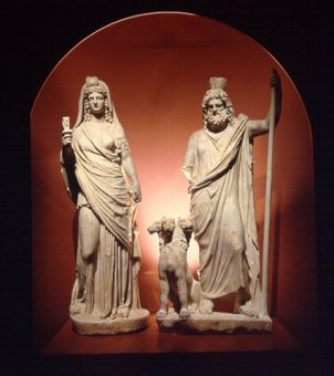 Hellenized Isis and Serapis, now in the Heraklion Museum in Crete