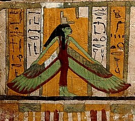 Green Isis spreads Her wings over the deceased
