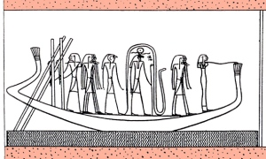 Isis, at the prow of the boat, works Her magic on the enemy serpent, Apophis