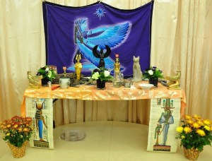 Modern altar of Isis of the Fellowship of Isis, Utah