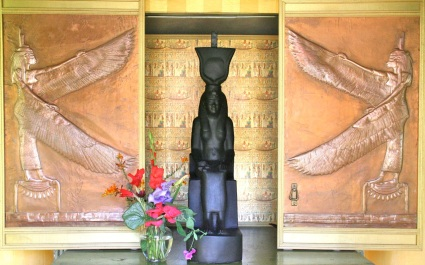 My living Isis image in Her temple shrine with flower offering