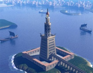 An artist's vision of the Pharos lighthouse of Alexandria