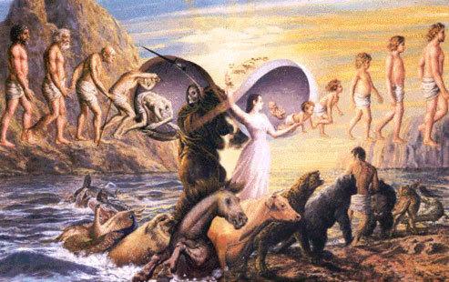 An artist's depiction of reincarnation