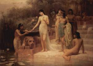 A highly romanticized painting of the pharaoh's daughter finding Moses by Edwin Long, 1886.
