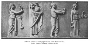Roman priestesses and priests of Isis in sacred procession