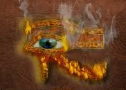 A fiery Eye of Horus the Initiate