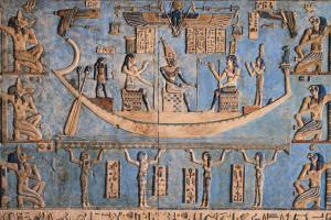 Osiris in the moon boat with Isis and Nephthys from Denderah; I'm not sure this is the one Griffiths is describing, but it's got to be close