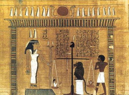 The Two Truths in the Judgment Hall weigh the heart of the deceased against Truth, Ma'at.