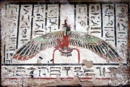 Green Isis, looking like Ma'at, but you can identify Her by the throne on Her head. She is seated on the glyph for