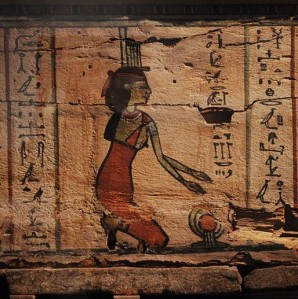 Isis on the foot of the outer coffin of the mummy of Ankh-Wennefer, Washington State History Museum; photo by Joe Mabel, wikicommons