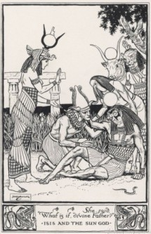 A vintage illustration of Isis learning the name of Re by H. m. Brock.