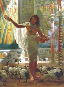 Edward John Poynter:Feeding the Sacred Ibis in the Halls of Karnac