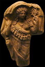 This terracotta of an Isis devotee is Roman, but made in Egypt; now in London in the British Museum. Credits: Barbara McManus, 2001
