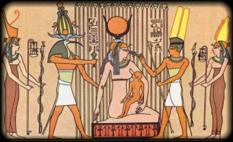 Thoth aids Isis & Horus in the papyrus swamps