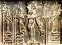 Isis & Thoth (far left and right) aid Horus on the famous Metternich Stele