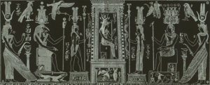 Isis (in center) of the Bembine Tablet; Thoth, as He is wont to do, has Her back