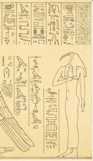 The ibis-headed Nephthys from Denderah; I'm working on finding the hieroglyph translations...but you can see Her name above Her head