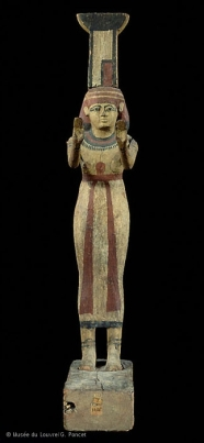 "A statuette of Nephthys with Her name glyph, showing the neb basket and the temple ""blueprint"""