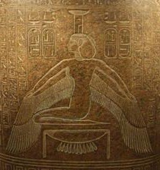 Nephthys in Her protective stance, mirroring Isis