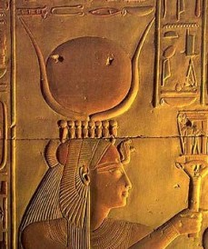 Isis from Abydos wearing a uraeus crown (upholding the horns and disk) and a holy cobra upon Her brow