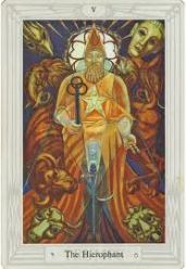 The Hierophant from the Thoth tarot deck; the Hierophant is the High Priest at Eleusis, and of the Eumolpid family