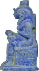 An Isis-Nursing-Horus amulet carved in lapis lazuli