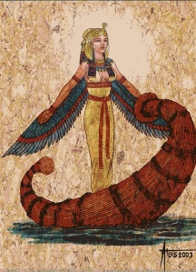 This is someone's lovely art of Isis in a papyrus boat; can you identify it? Would love to give the artist credit.