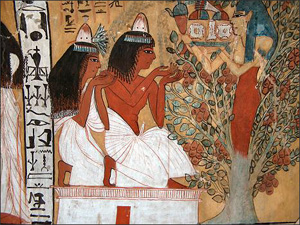 Egyptian woman and man taking sustenance in the otherworld