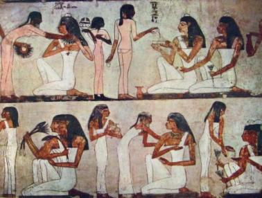 Women and girls preparing for a banquet from the Tomb of Rekhmire