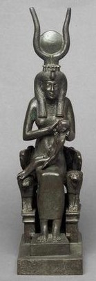 Isis with Horus upon Her lion throne