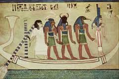 Isis guides the boat of the deceased in the Otherworld