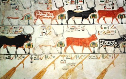 The seven Cows of Heaven and Their Bull, with rudders
