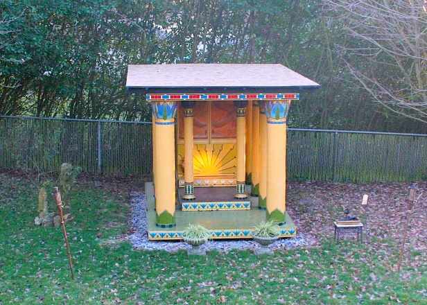 The Winter Solstice sun shining upon the symbol of the sun on the Isis Temple in my backyard...from a previous year; today we have total overcast